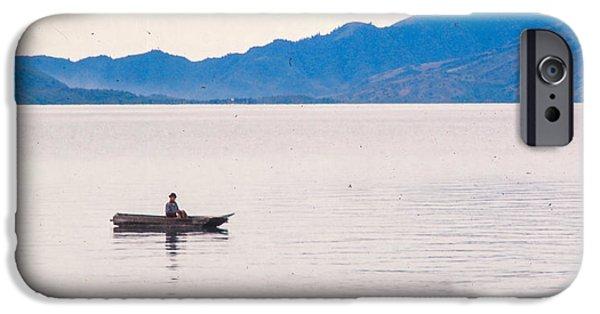 Canoe iPhone Cases - Dugout Canoe Lake Atitlan iPhone Case by Rupert Chambers