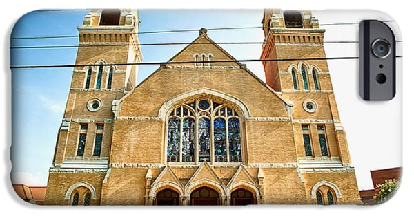 Universities Pyrography iPhone Cases - Duke Memorial Methodist Church iPhone Case by Inho Kang