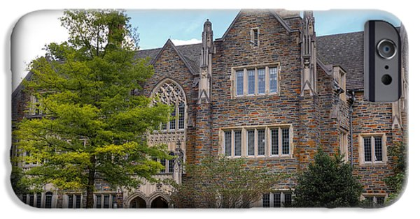 Universities Pyrography iPhone Cases - Duke University Building iPhone Case by Inho Kang