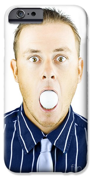 Censorship iPhone Cases - Dumbfounded man silenced by a golf ball iPhone Case by Ryan Jorgensen