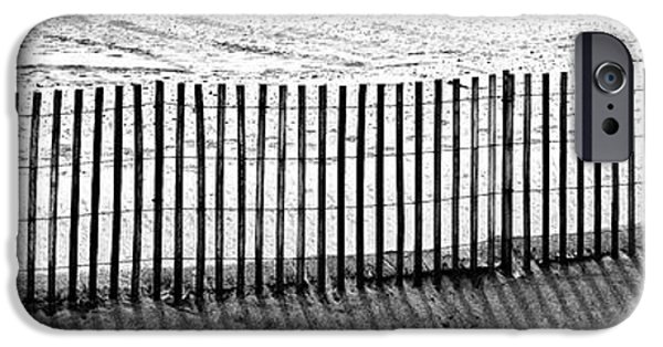 Monotone iPhone Cases - Dune Fence panorama iPhone Case by John Rizzuto