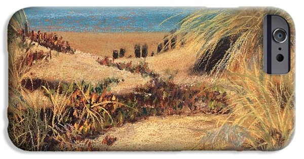Sand Dunes Pastels iPhone Cases - Dune Grasses iPhone Case by Marti Walker