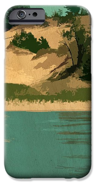 Michelle iPhone Cases - Dunes of Lake Michigan Antiqued iPhone Case by Michelle Calkins