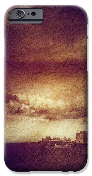 Old Digital Art iPhone Cases - Dunnottar Revisited iPhone Case by Edmund Nagele