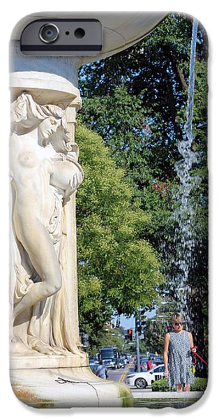 Cora Wandel iPhone Cases - Dupont Circle Fountain -- Stars Down To Her Toes iPhone Case by Cora Wandel