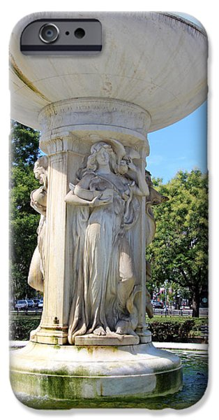 Cora Wandel iPhone Cases - Dupont Circle Fountain -- The Cradling Sea iPhone Case by Cora Wandel