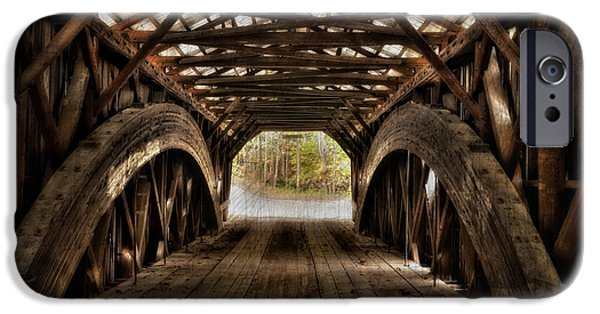 Covered Bridge iPhone Cases - Durgin Covered Bridge - HDR  iPhone Case by Thomas Schoeller