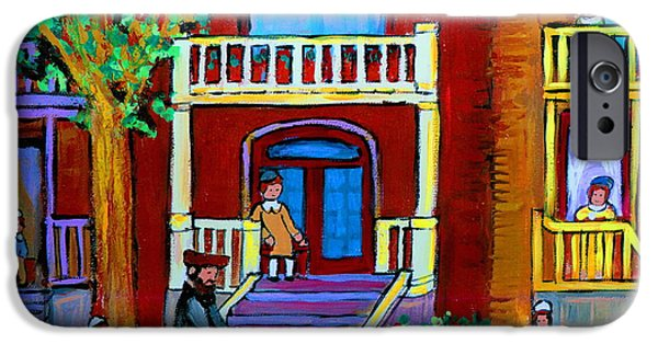 Lubavitcher iPhone Cases - Durocher Street Montreal iPhone Case by Carole Spandau