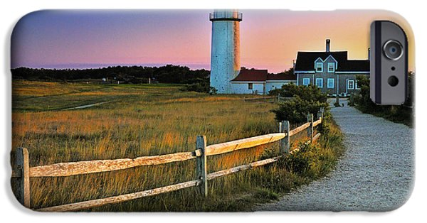 New England Lighthouse Photographs iPhone Cases - Dusk at Cape Cod Lighthouse iPhone Case by Thomas Schoeller