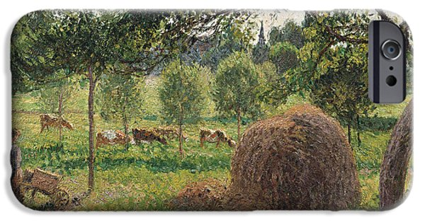 A Summer Evening Landscape Paintings iPhone Cases - Dusk at Eragny iPhone Case by Camille Pissarro