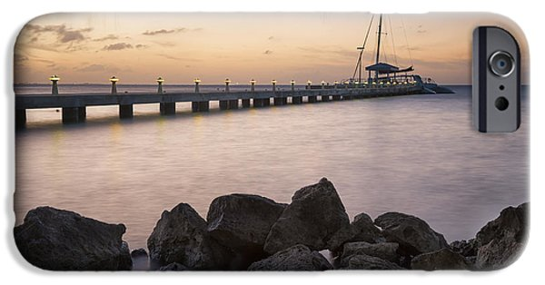 Sailboat Photos iPhone Cases - Dusk at Rum Point Grand Cayman iPhone Case by Adam Romanowicz