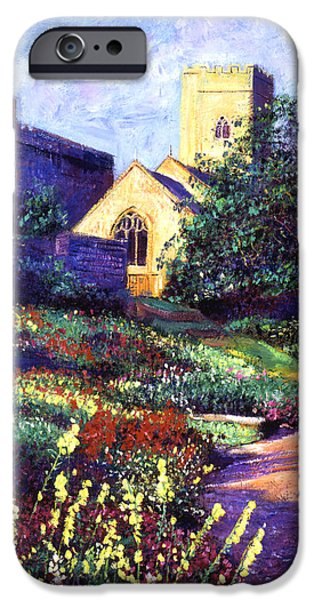 Brick Paintings iPhone Cases - Dusk At The Abbey iPhone Case by David Lloyd Glover