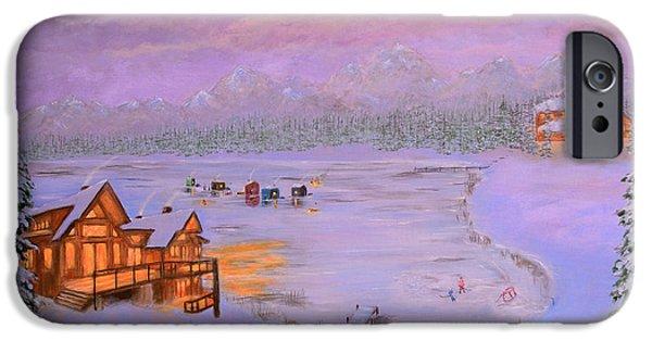Hockey Paintings iPhone Cases - Dusk Winter Lake iPhone Case by Ken Figurski