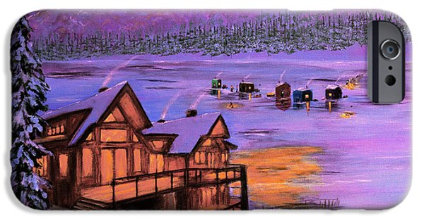 Maine iPhone Cases - Dusk Winter Lake Square iPhone Case by Ken Figurski