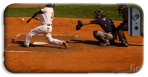 Dustin Pedroia iPhone Cases - Dustin Single iPhone Case by Ray Konopaske