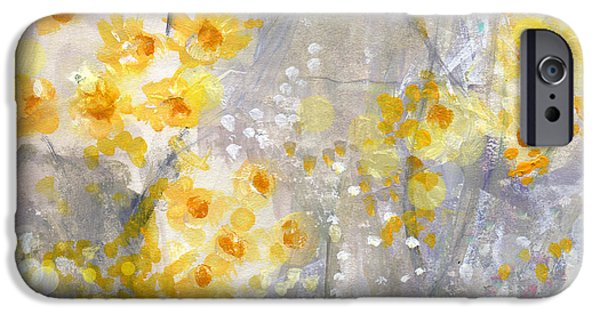 Flower Design iPhone Cases - Dusty Miller- Abstract Floral Painting iPhone Case by Linda Woods