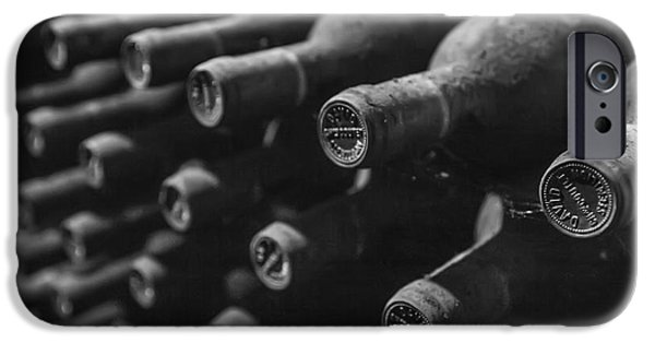 Vintage Wine Lovers Photographs iPhone Cases - Dusty Wine Bottles iPhone Case by Nomad Art And  Design