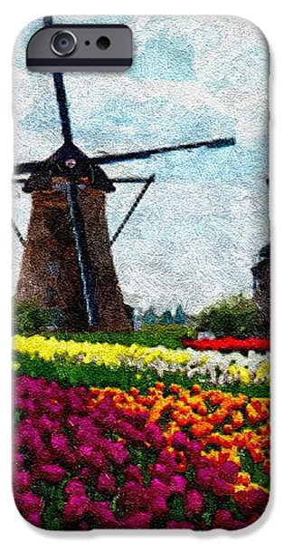Abstract Digital Pastels iPhone Cases - Dutch Tulips and Windmills H A iPhone Case by Gert J Rheeders