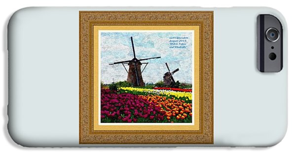 Abstract Digital Pastels iPhone Cases - Dutch Tulips and Windmills H A With Decorative Ornate Printed Frame. iPhone Case by Gert J Rheeders