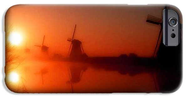 Abstract Digital Paintings iPhone Cases - Dutch Windmills At Sunset H B iPhone Case by Gert J Rheeders