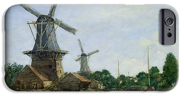Holland Paintings iPhone Cases - Dutch Windmills iPhone Case by Eugene Louis Boudin
