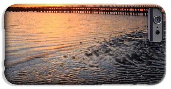 Ocean Sunset iPhone Cases - Duxbury Beach Powder Point Bridge Sunset iPhone Case by John Burk