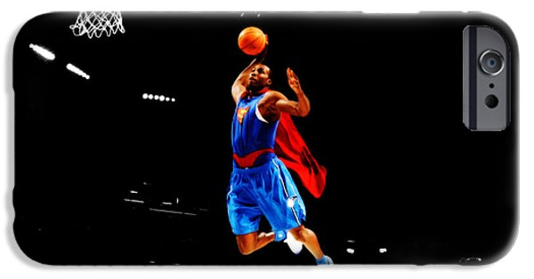 Vince Carter iPhone Cases - Dwight Howard Superman Dunk iPhone Case by Brian Reaves