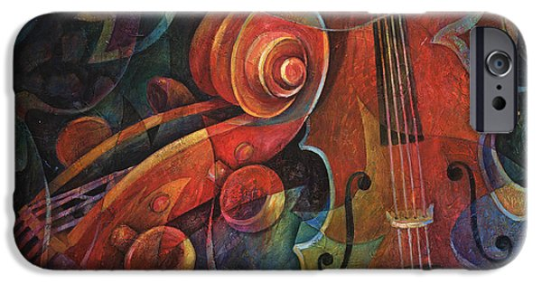 Music iPhone Cases - Dynamic Duo - Cello and Scroll iPhone Case by Susanne Clark