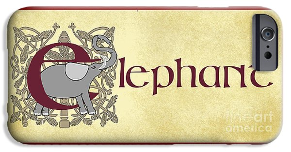 Graphic Design iPhone Cases - E is for Elephant iPhone Case by Donna Huntriss