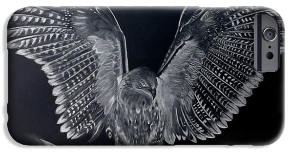 Inverted Drawings iPhone Cases - Eagle 1  iPhone Case by Sonia Turner