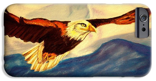 Eagle Pastels iPhone Cases - Eagle and Mountains iPhone Case by Jay Johnston