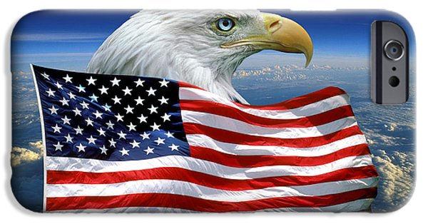 Old Glory iPhone Cases - Eagle and Old Glory iPhone Case by Wernher Krutein