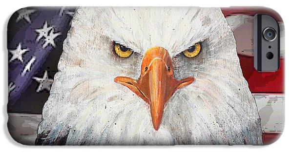 Best Sellers -  - 4th July Mixed Media iPhone Cases - Eagle And The Flag iPhone Case by Arline Wagner
