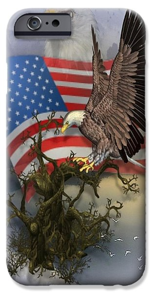 Flag iPhone Cases - Eagle Lands iPhone Case by Ali Oppy