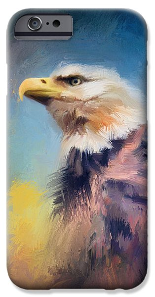Eagle Paintings iPhone Cases - Eagle on Guard iPhone Case by Jai Johnson