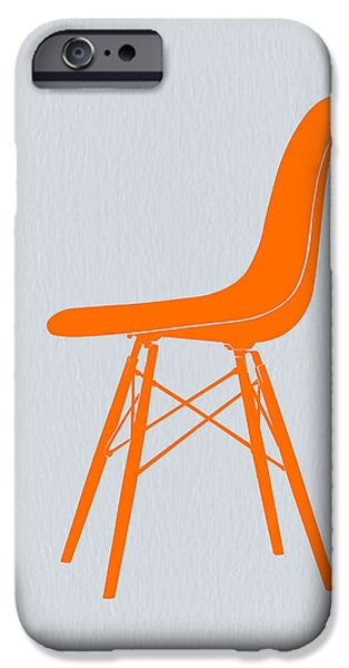 Modernism iPhone Cases - Eames Fiberglass Chair Orange iPhone Case by Naxart Studio