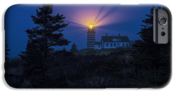 Maine iPhone Cases - Early Evening Fog at West Quoddy Head Lighthouse iPhone Case by Marty Saccone