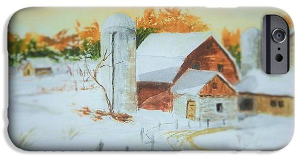 Maine Farms Paintings iPhone Cases - Early Light iPhone Case by Jim Decker