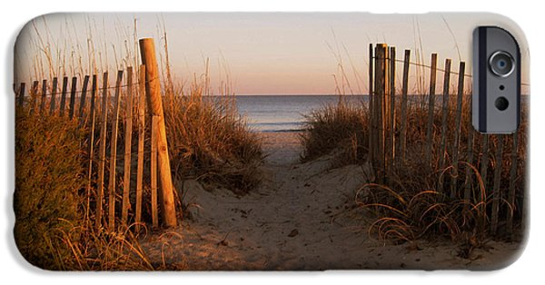 Susanne Van Hulst iPhone Cases - Early Morning at Myrtle Beach SC iPhone Case by Susanne Van Hulst