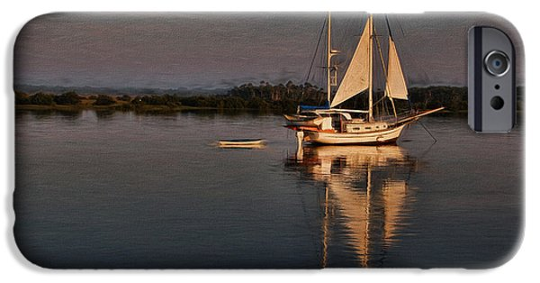 Boat iPhone Cases - Early Morning Augustine Light iPhone Case by Deborah Benoit
