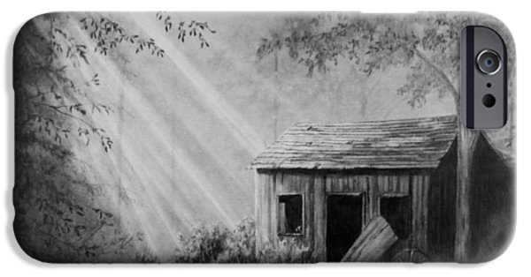 Old Barn Drawing iPhone Cases - Early Morning Cabin iPhone Case by Stephen McCall