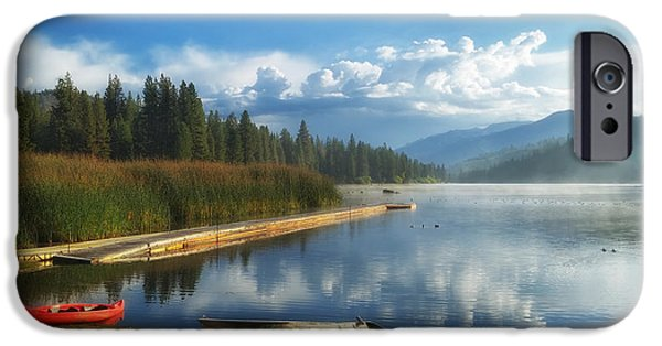 Recently Sold -  - Canoe iPhone Cases - Early Morning On Hume Lake California iPhone Case by P J Crz