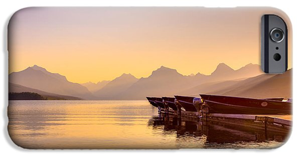 National Treasure iPhone Cases - Early Morning on Lake McDonald iPhone Case by Adam Mateo Fierro