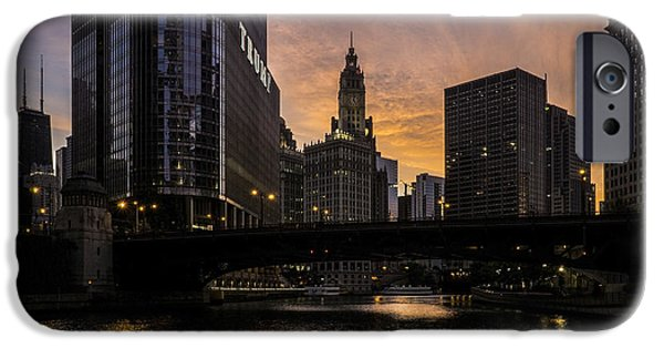 Wrigley iPhone Cases - early morning orange sky on the Chicago Riverwalk iPhone Case by Sven Brogren