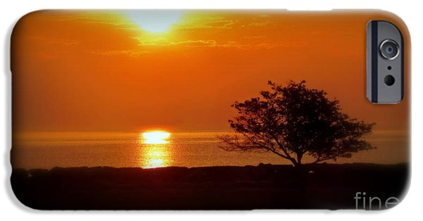 Morning iPhone Cases - Early Morning Sunrise On A Silhouetted Beach iPhone Case by Kay Novy