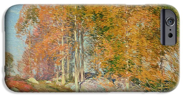 Turning Leaves iPhone Cases - Early October iPhone Case by Willard Leroy Metcalf
