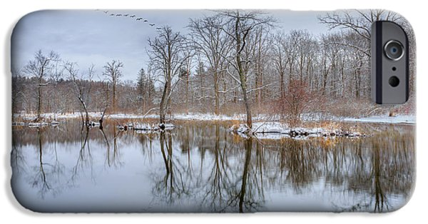 New England Snow Scene iPhone Cases - Early Spring in New England iPhone Case by Bill Wakeley