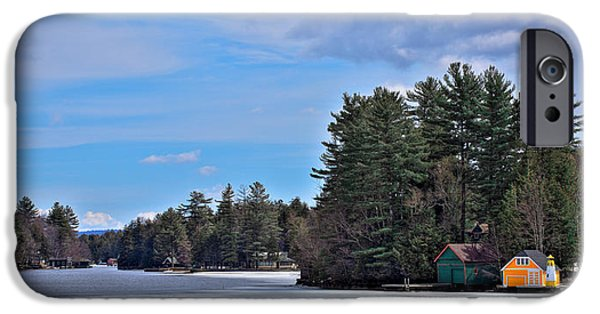 Snow Scene iPhone Cases - Early Spring on Old Forge Pond iPhone Case by David Patterson
