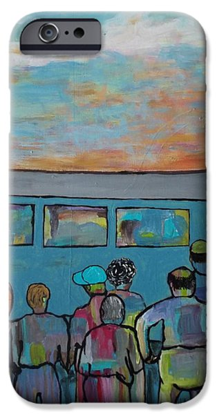 Transportation Tapestries - Textiles iPhone Cases - Early Workers Waiting on the Train iPhone Case by Patricia Voelz