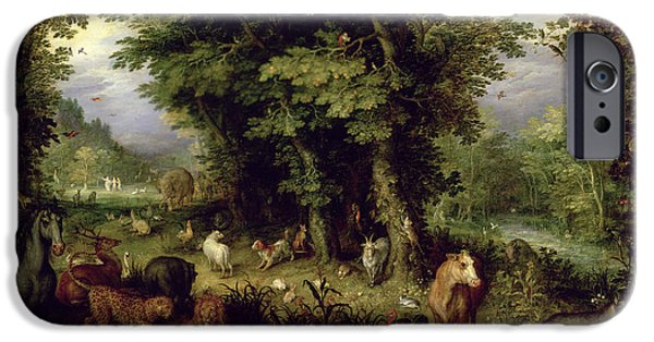 Old Testament iPhone Cases - Earth or The Earthly Paradise iPhone Case by Jan the Elder Brueghel